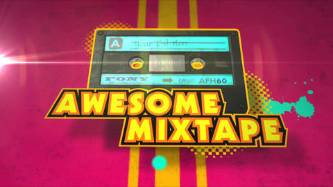 Awesome Mixtape - Cassette Tape, Retro Logo Stinger After Effects Template