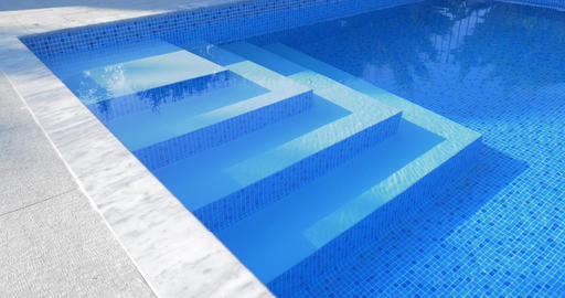 Stairs in outdoor swimming pool Footage