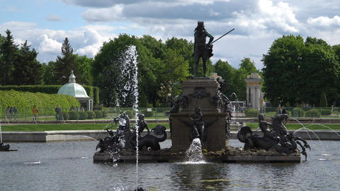 St. Petersburg, Peterhof, Russia, June 2018: Famous Petergof fountains and Footage