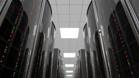 Moving between server racks in datacenter, loop Animation