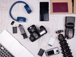 Flat lay top view of traveler accessories Photo