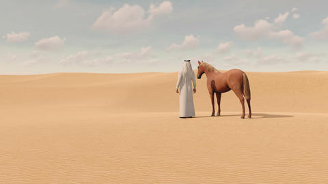 Arabian man and red horse in sandy desert 3D Archivo