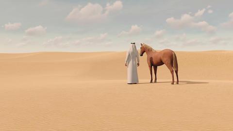Arabian man and red horse in sandy desert 3D ビデオ