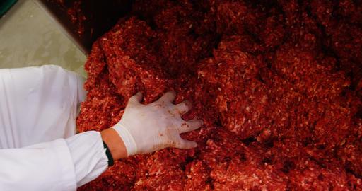 Butcher preparing minced meat Footage