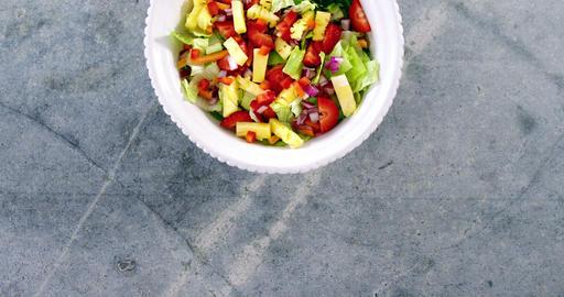 Salad in bowl Footage