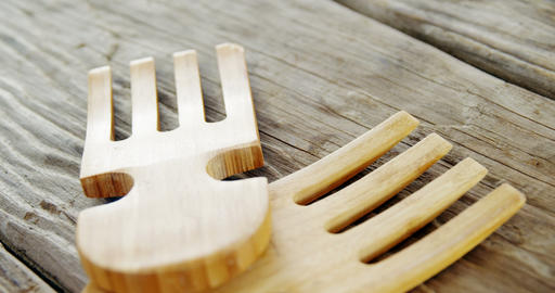 Wooden fork on table Footage