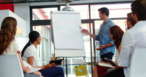 Man discussing design on white board with colleagues during a meeting Footage