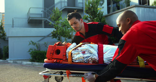 Paramedics rushing a patient in emergency Footage