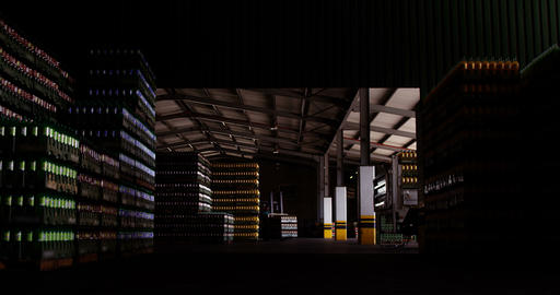 View of stacked bottles in warehouse Footage