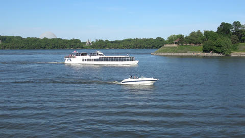 Cruising Boats in Montreal Old Port. Tourist area. St.Laurence river, seaway Footage