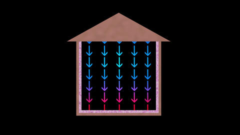 Heat flow in house. Arrows moving down. Cooling Animation