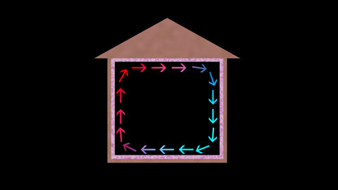 Heat flow in house. Arrows show circulation Animation