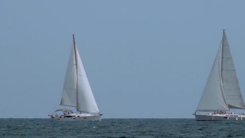 Two Sail Boats At Sea GIF