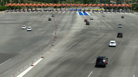 Traffic in a toll.Top view Footage