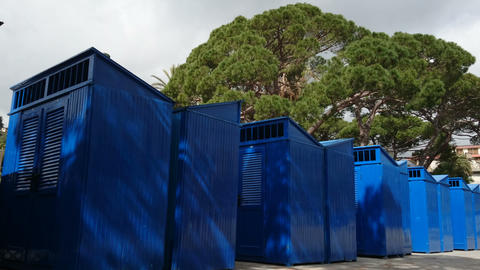 Blue cabins on the beach in Rapallo Live Action