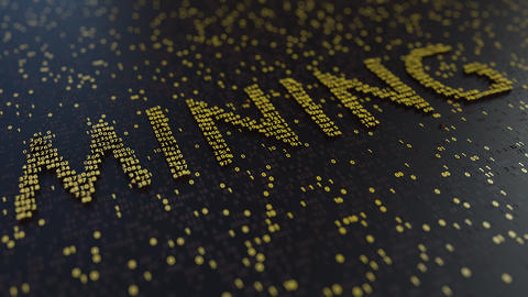 MINING word made of moving golden numbers ビデオ