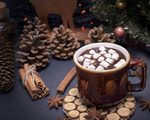 hot chocolate with marshmallow in a brown ceramic mug Fotografía