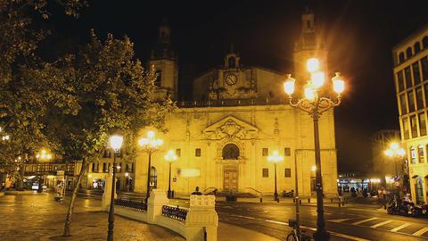 Contemporary lifestyle near Church of San Nicolas de Bari in Bilbao, timelapse Footage