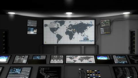 Artist rendering, high-tech command center room Animation