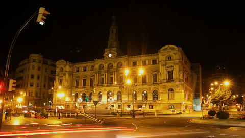 Huge megalopolis living its own life and never sleeps, nightlife in Bilbao city Footage