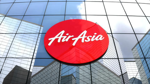 Editorial, AirAsia Berhad logo on glass building Animation