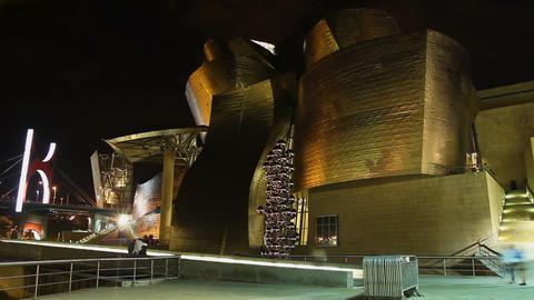 Guggenheim Museum of modern and contemporary art in Bilbao, Spanish landmark Live Action