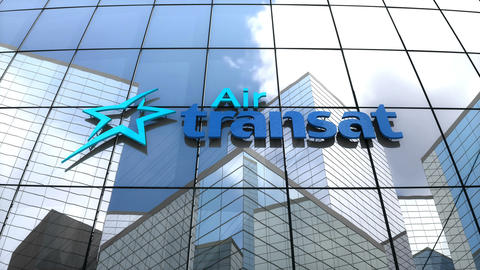 Editorial, Air Transat logo on glass building Animation
