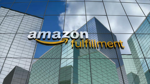 Editorial, Amazon Fulfillment logo on glass building Animation