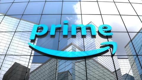 Editorial, Amazon Prime logo on glass building CG動画