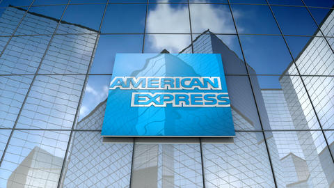 Editorial, American Express Company logo on glass building Animation