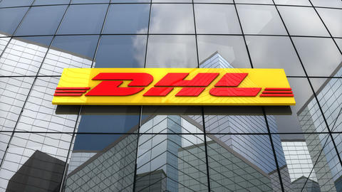 Editorial, DHL Express logo on glass building Animation