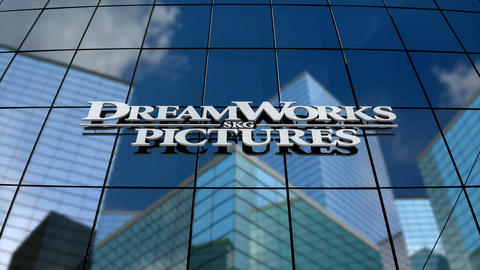 Editorial, DreamWorks SKG logo on glass building Animation