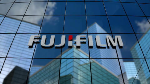 Editorial, Fujifilm Holdings Corporation logo on glass building Animation