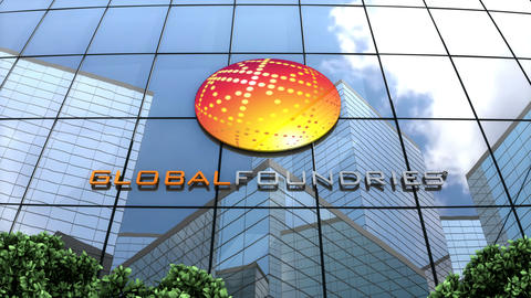 Editorial, GLOBALFOUNDRIES Inc logo on glass building Animation