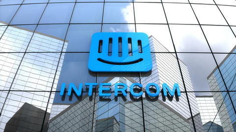 Editorial, Intercom logo on glass building Animation