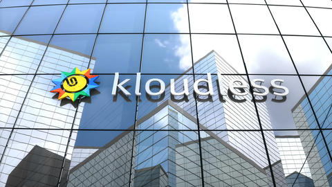 Editorial, Kloudless logo on glass building Animation