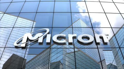 Editorial, Micron Technology Inc. logo on glass building Animation