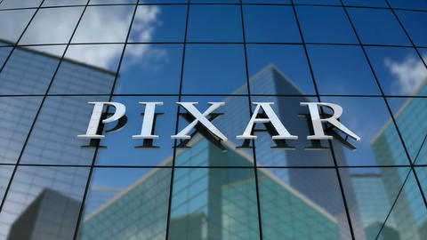 Editorial, Pixar Animation Studios logo on glass building Animation