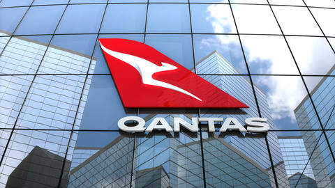 Editorial, Qantas Airways logo on glass building Animation