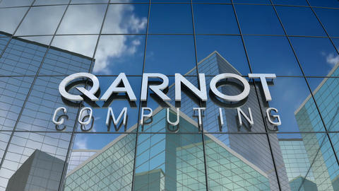 Editorial, Qarnot computing logo on glass building Animation