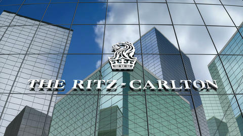 Editorial, The Ritz-Carlton Hotel Company LLC logo on glass building Animation