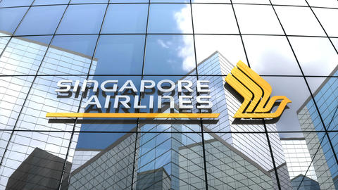 Editorial, Singapore Airlines Limited logo on glass building Animation