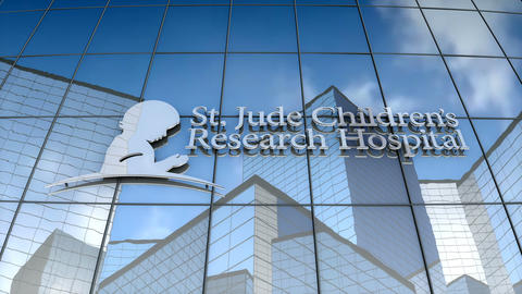 Editorial, St. Jude Children's Research Hospital logo on glass building Animation