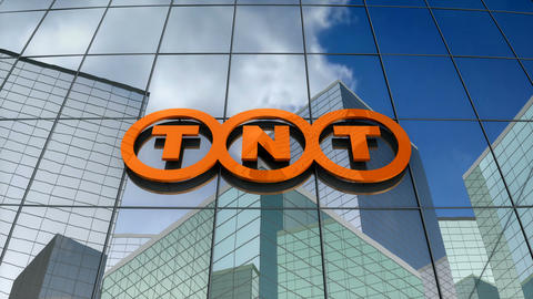 Editorial, TNT Express logo on glass building Animation