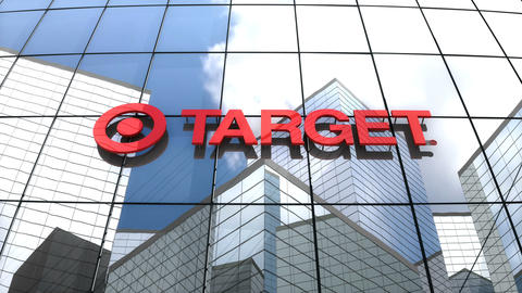 Editorial, Target Corporation logo on glass building Stock Video Footage