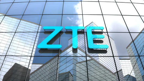 Editorial, ZTE Corporation logo on glass building Animation