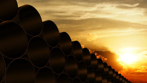 Pipe barrel stack with sunset background Animation