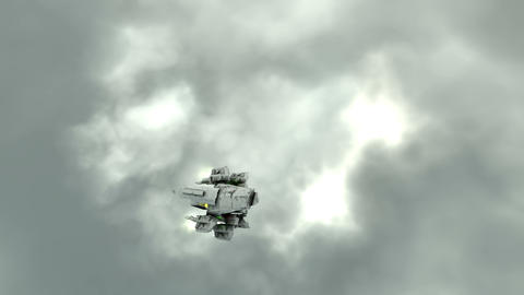 Scifi ship flying in the clouds Animation