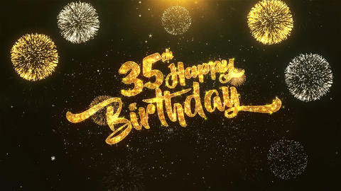 35th Happy birthday Celebration, Wishes, Greeting Text on Golden Firework Animation