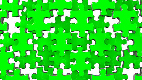 Green Jigsaw Puzzle On White Background CG動画